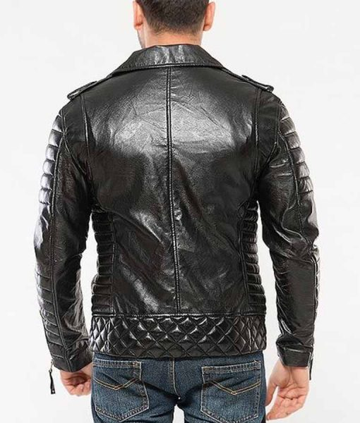Mens Black Padded Motorcycle Leather Jacket