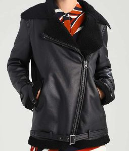 Black Shearling Leather Womens Avaitor Jacket