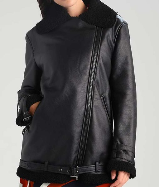 Womens Asymmetrical Style Black Shearling Leather Jacket