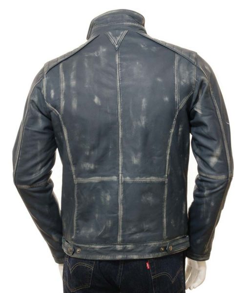 Mens Blue Waxed Café Racer Jacket