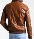 Bright Brown Leather Mens Casual Bomber Jacket