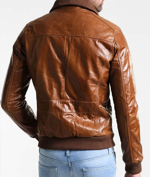 Mens Shining Brown Bomber Jacket