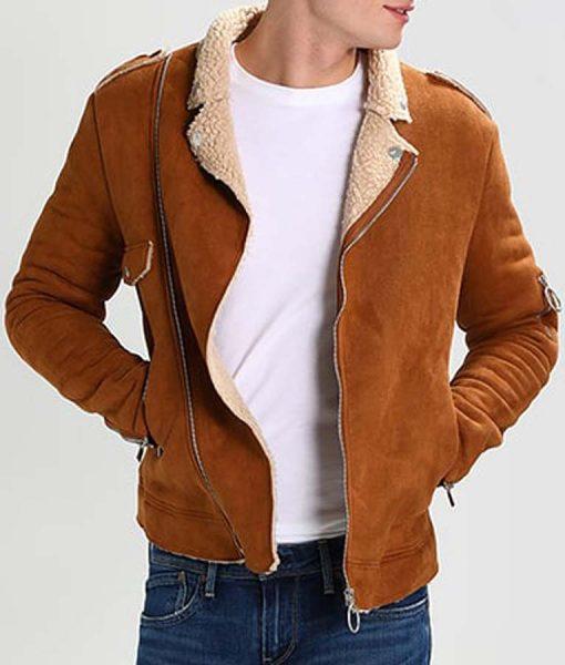 Mens Camel Brown Leather Ivory Shearling Biker Suede Jacket