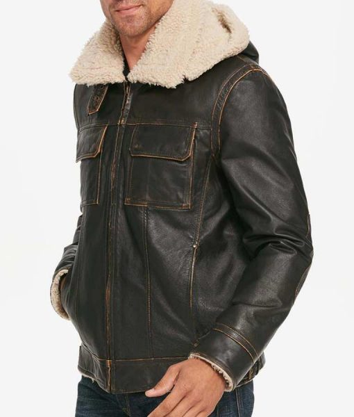 Mens Brown Waxed Aviator Shearling Hooded Leather Jacket