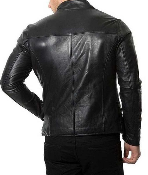 Mens Plain Café Racer Black Jacket