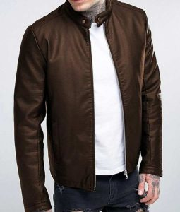 Mens Casual Brown Leather Stand-up Collar Leather Jacket