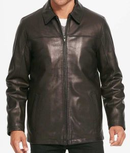 Casual Mens Pointed Collar Leather Jacket