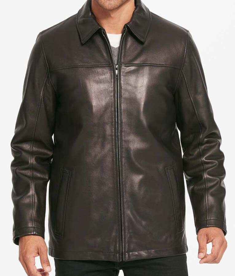 Casual mens black leather shirt style collar jacket usa for Leather jacket and shirt