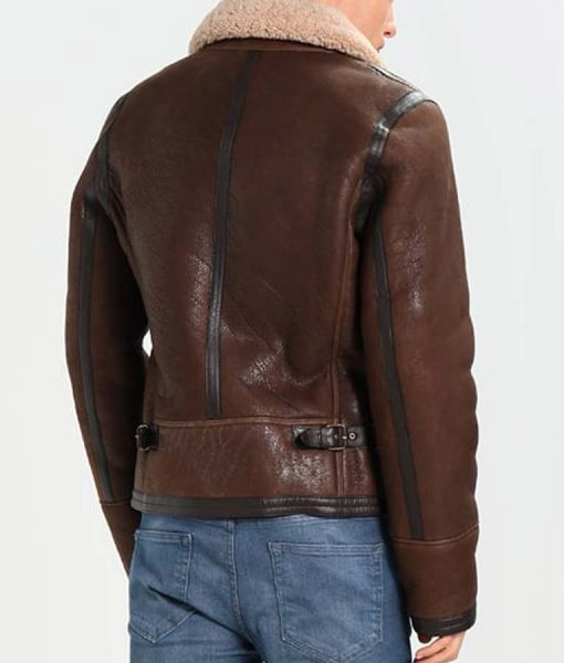 Mens Aviator Style Dark Brown Leather Shearling Jacket