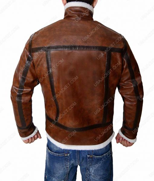 Distressed Brown Mens White Shearling Leather Jacket