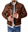 Mens Distressed Brown Aviator Jacket