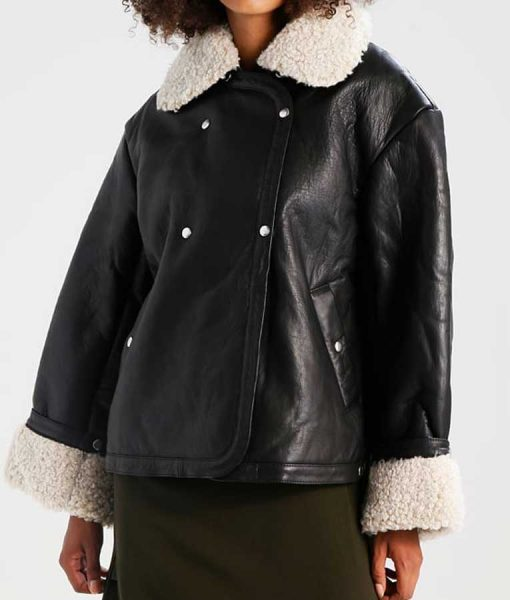 Double Breasted Black Leather Womens Shearling Jacket