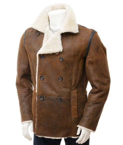 Double Breasted Brown Leather Mens Shearling Jacket