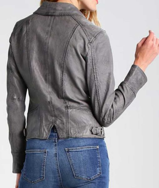 Womens Grey Leather Motorcycle Jacket