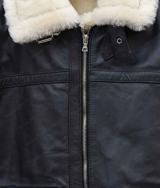 Black Leather Womens Aviator Ivory Shearling Jacket