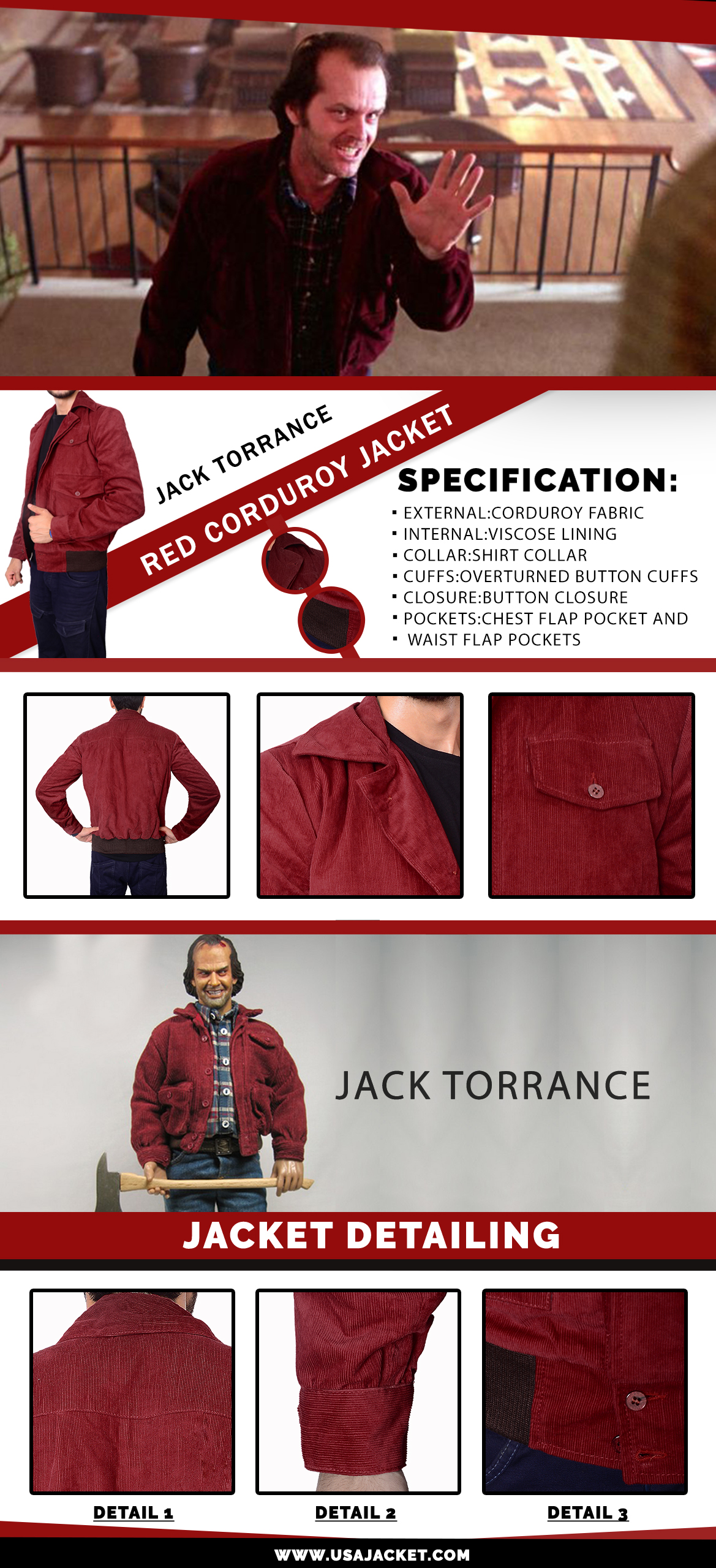Jack Torrance Red Corduroy infographic