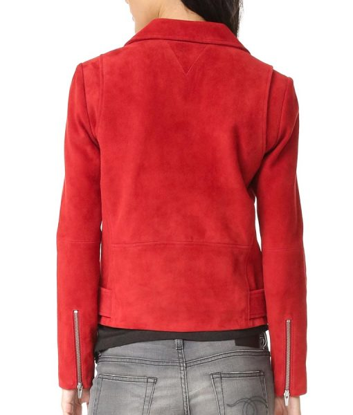 Emma Swan Once Upon A Time Wool Red Biker Jacket