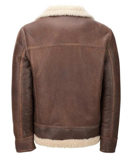 Mens Light Brown Leather Faux Shearling Aviator Jacket