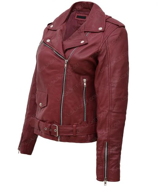 Womens Maroon Leather Jacket