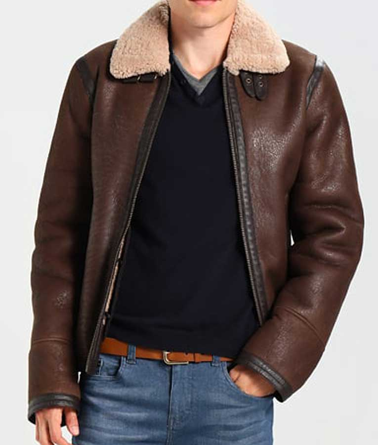 8dc11fbc0957 Mens Dark Brown Leather Aviator Style Jacket · Mens Aviator Style Dark Brown  Leather Shearling Jacket