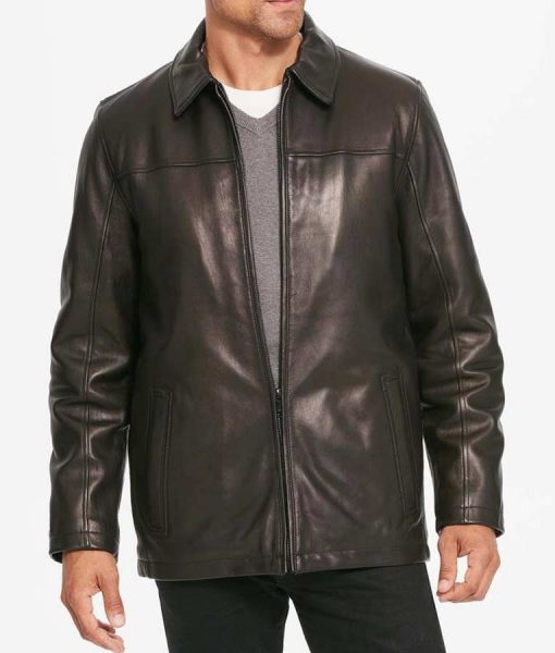 Pointed Collar Mens Black Leather Stylish Jacket