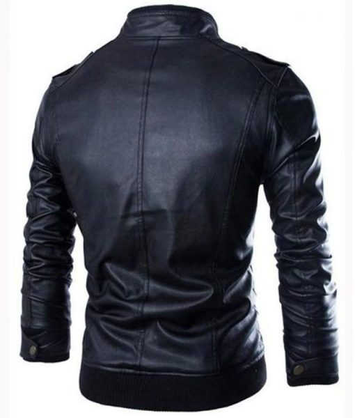 Black Mens Slimfit Rib-Knitted Leather Jacket