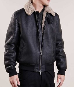 Black Mens leather Aviator Style Bomber Casual Shearling Jacket