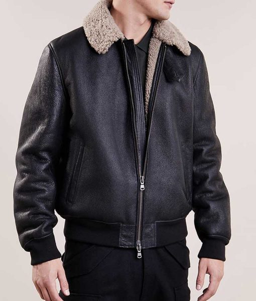 Mens Black Leather Aviator Style Bomber Shearling Jacket