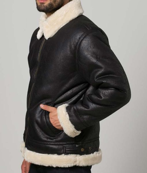 White Shearling Mens Black Aviator Jacket