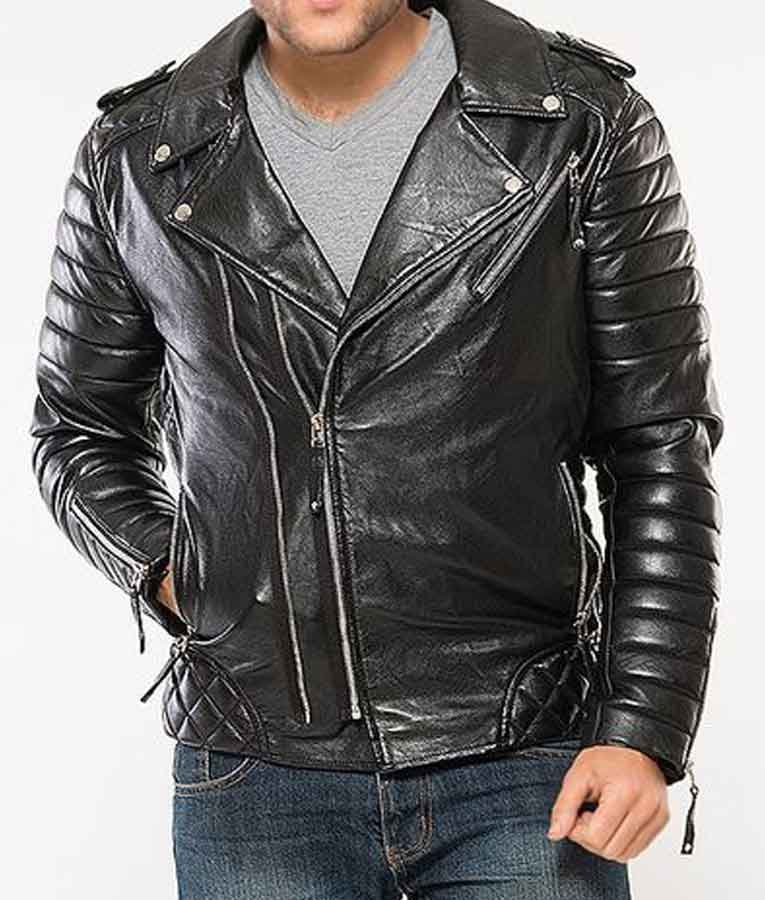 Black Padded Classic Motorcycle Mens Leather Jacket - USA ...