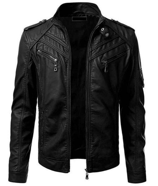 Mens Black Slimfit Leather Jacket