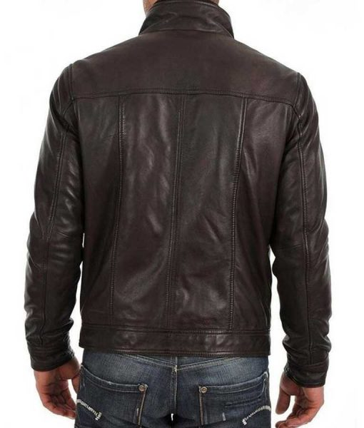 Black Mens Standard Buttoned Leather Jacket