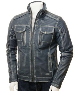 Mens Blue Waxed Café Racer Style Leather Jacket