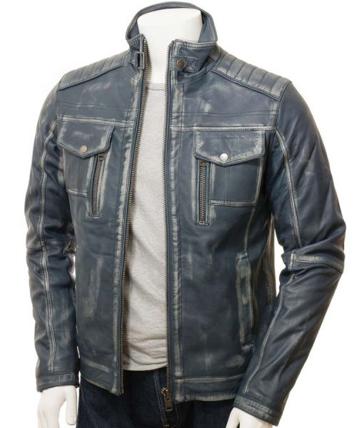 Blue Waxed Cafe Racer Style Mens Leather Jacket