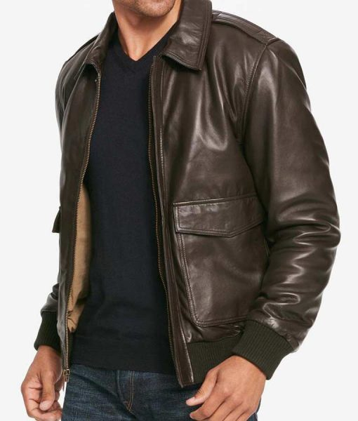 Mens Casual Two Pockets Brown Leather Bomber Jacket