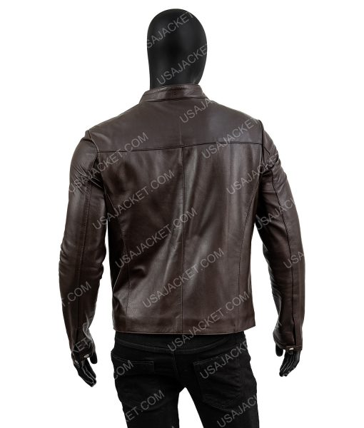Chocolate Brown Mens Standard Casual Leather Jacket