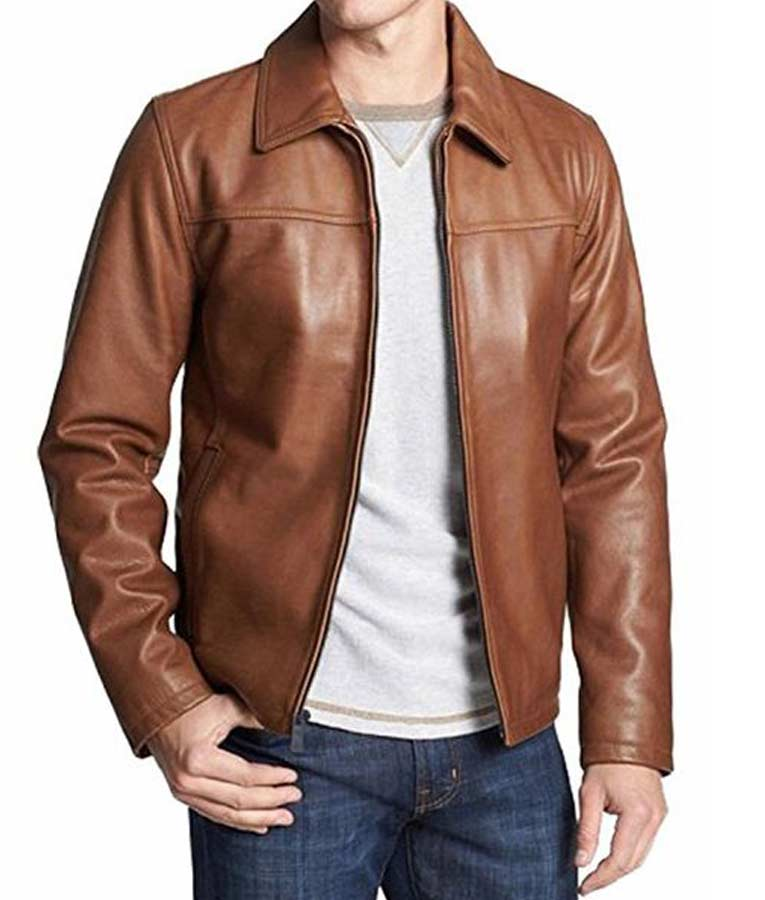Mens casual brown leather shirt style collar leather jacket for Leather jacket and shirt
