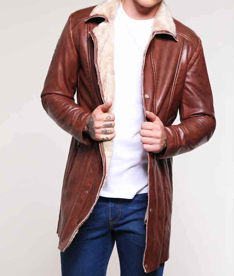 90f032650289 Mens Brown Leather Mid-Length Faux Shearling Coat - USA Jacket