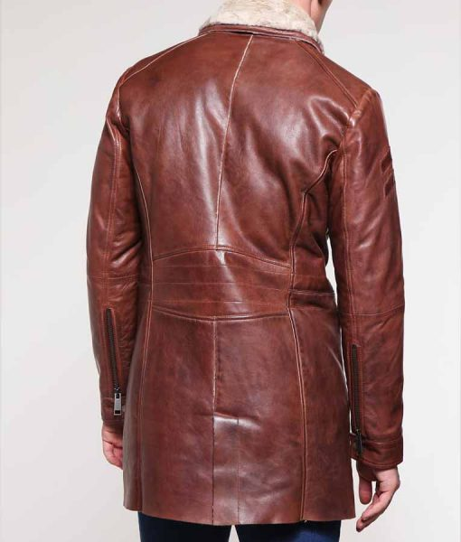 Mens Dark Brown Mid Length Ivory Shearling Leather Jacket