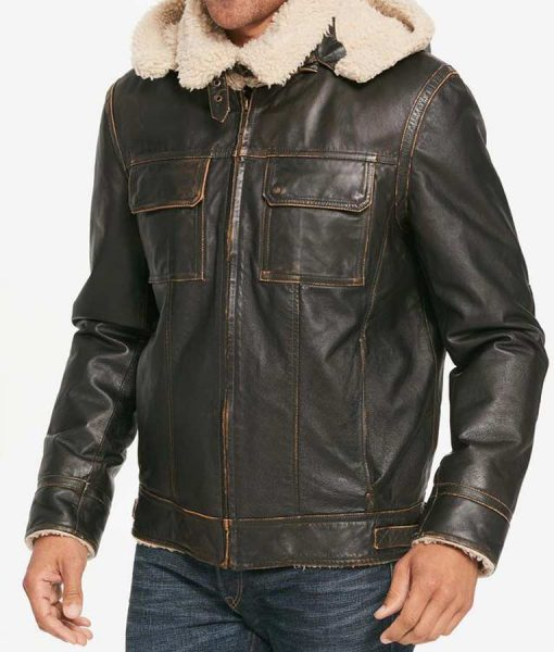 Brown Waxed Mens Aviator Hooded Shearling Leather Jacket