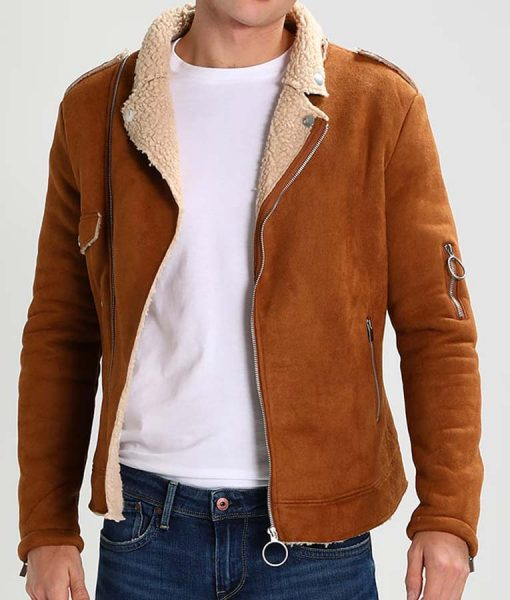 Mens Camel Brown Suede Leather Motorcycle Jacket