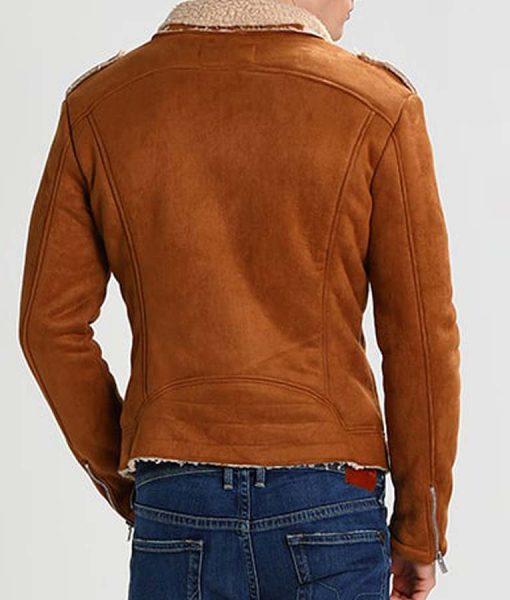Mens Camel Suede Motorcycle Jacket