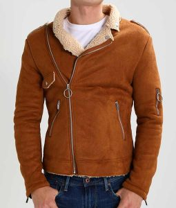 Brown Suede Mens Shearling BIker Leather Jacket