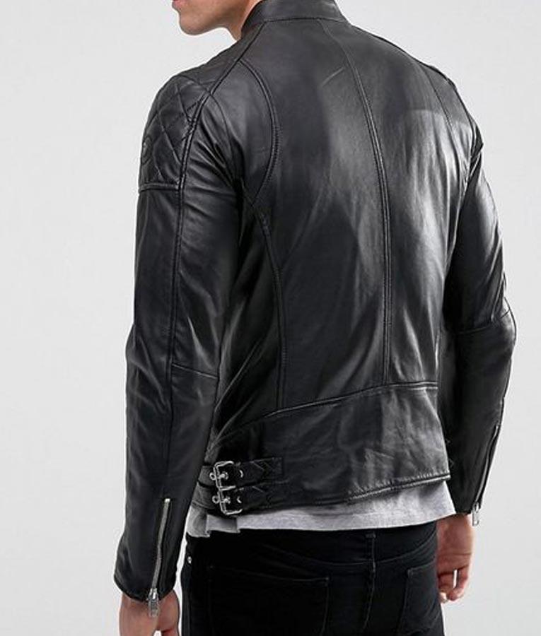 Mens Biker Style Black Quilted Shoulder Leather Jacket