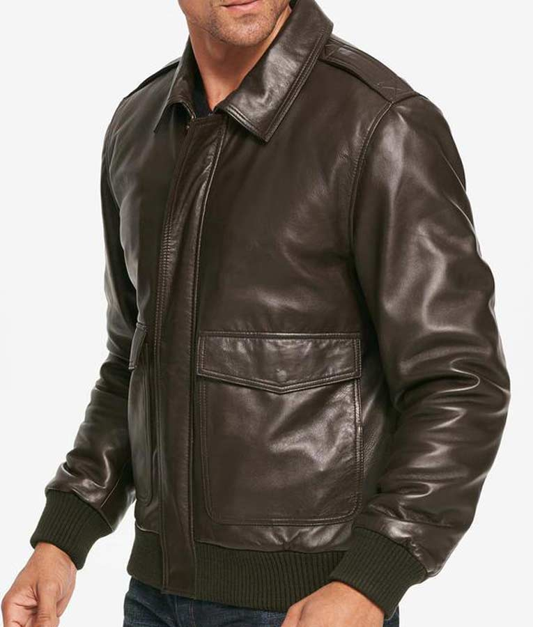 265e5586c Mens Brown Bomber Leather Jacket