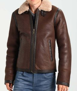 Dark Brown Leather Mens Ivory Shearling Leather Jacket