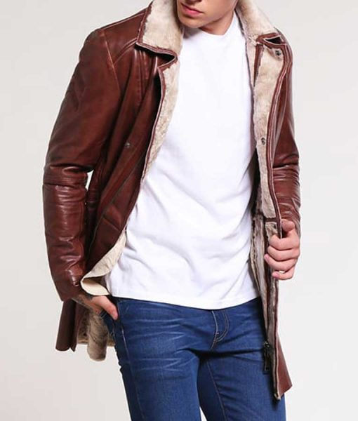 Mens Brown Leather Mid-Length Faux Shearling Coat