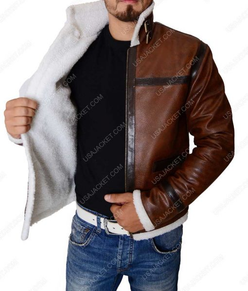 Aviator Style Mens Distressed Brown White Shearling Flight Leather Jacket