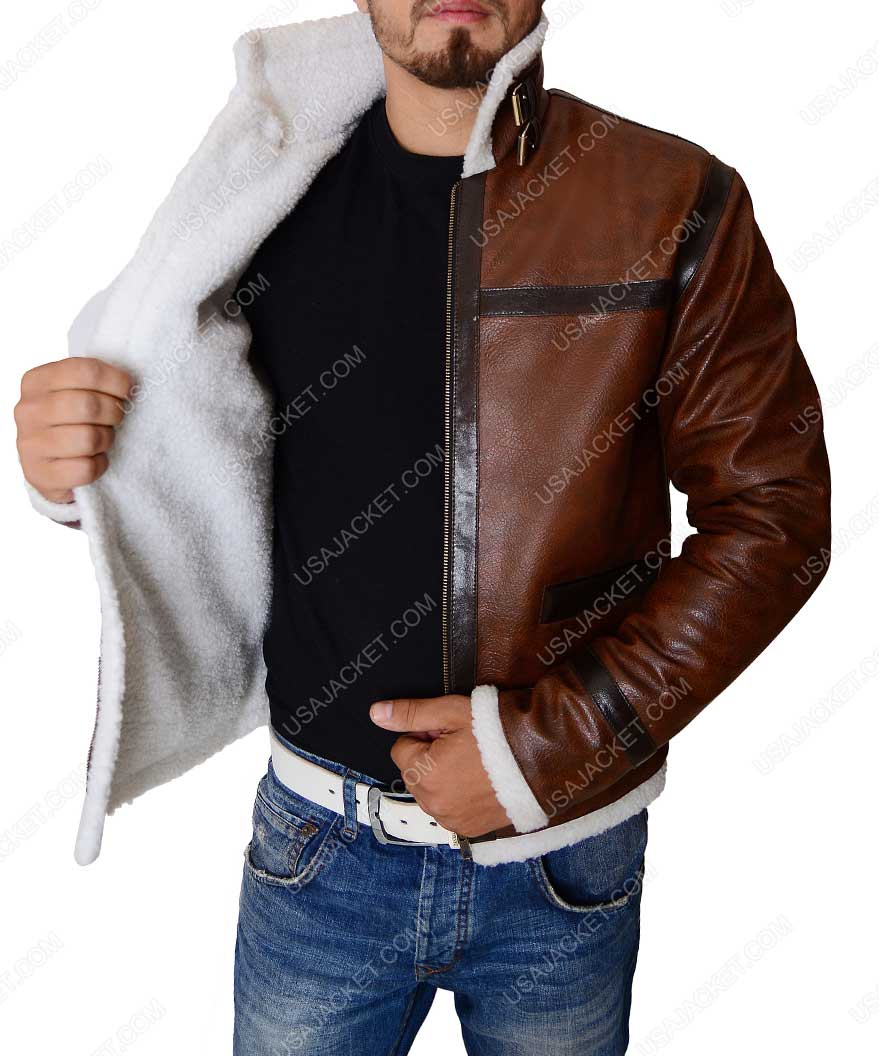 Distressed faux leather jacket