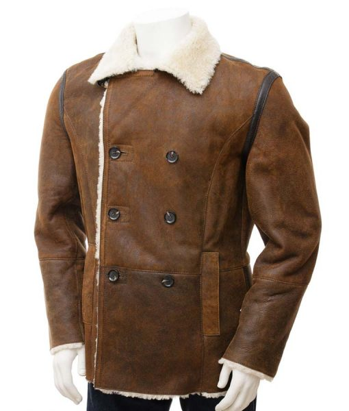 Double Breasted Brown Leather Mens White Shearling Jacket